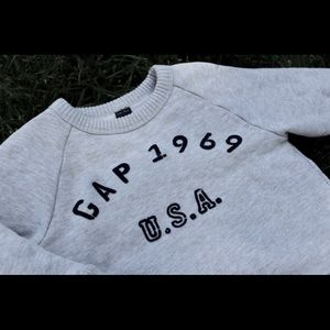 Baby Gap Oatmeal Sweatshirt with Navy Lettering